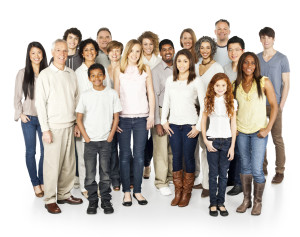 A diverse group of people of different ethnicities and ages designed to represent the global community. Horizontal shot. Isolated on white.